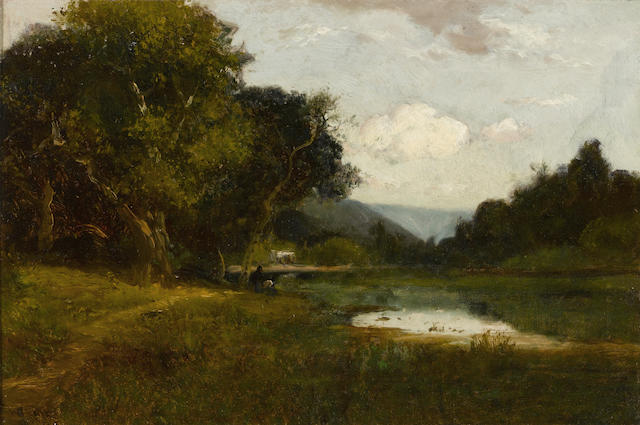 William Keith (Scottish/American, 1838-1911) A glimpse of Napa 12 x 18 1/4in