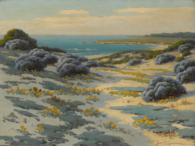 John Marshall Gamble (American, 1863-1957) Bush lupine and poppies, sand dunes, Monterey 18 x 24in unframed