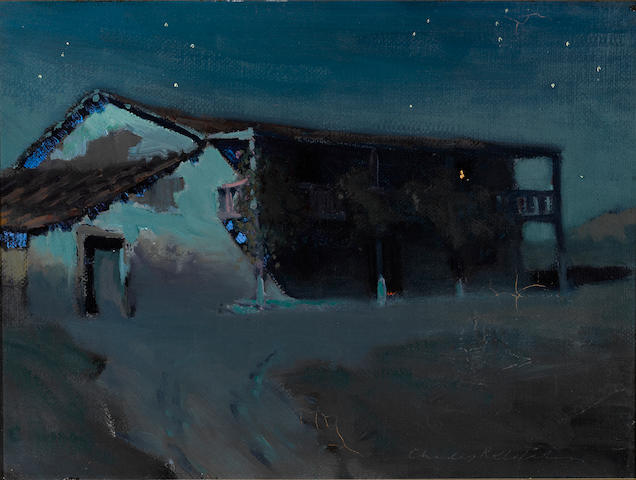 Charles Rollo Peters (American, 1862-1928) Adobe by moonlight 11 1/2 x 15 1/2in