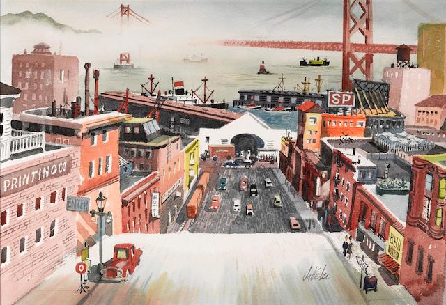 Jake Lee (American, 1915-1991) Embarcadero, San Francisco 15 1/2 x 22 1/2in