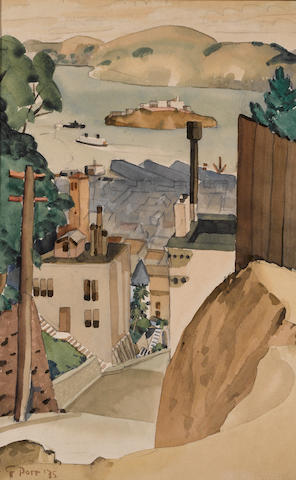 George Booth Post (American, 1906-1997) Alcatraz from Poet's Point, 1935 19 x 12 1/2in