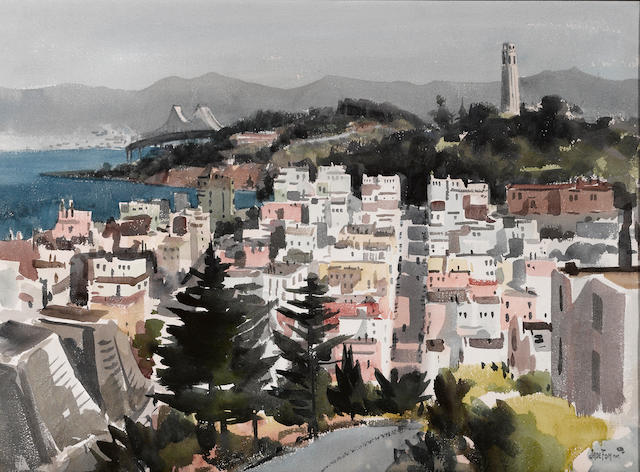 Jade Fon, View of Coit Tower and Bay Bridge, W/C on paper.