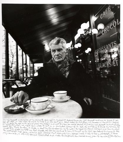 John Minihan (Irish, born 1946); Samuel Beckett photographed in Café Français, Boulevard St. Jacques, Paris;
