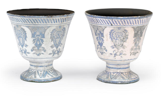 A pair of French blue and white enameled cast iron jardinières  <br>mid 19th century