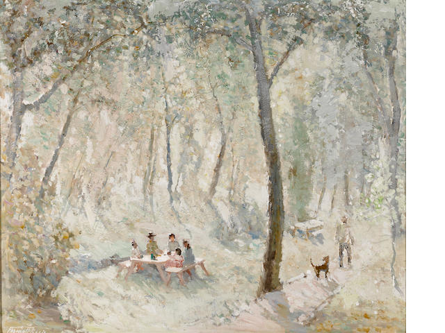 Fremont F. Ellis (American, 1897-1985) The picnic, 1959 20 x 24in