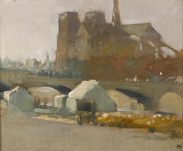 Xavier Martinez (American, 1869-1943) View of Notre Dame, 1900 8 1/2 x 10 1/2in
