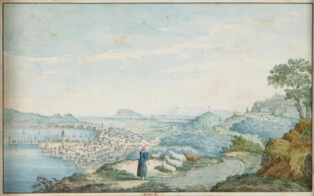 Attributed to Willey Reveley (1760-1799) A view of a Greek coastal village  4 1/2 x 7 1/4in