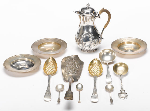 A group of English silver table articles and flatware