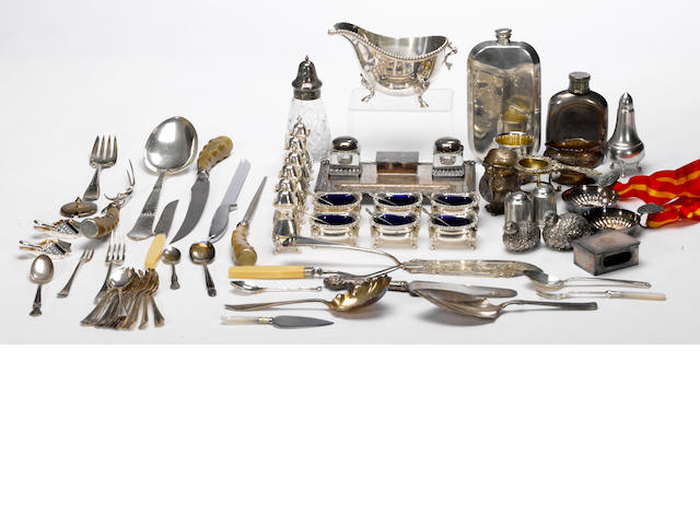 A large quantity of plated and pewter desk and table articles and flatware