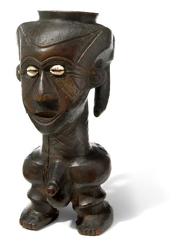 Rare, Large Kuba Anthropomorphic Ritual Cup, Democratic Republic of the Congo