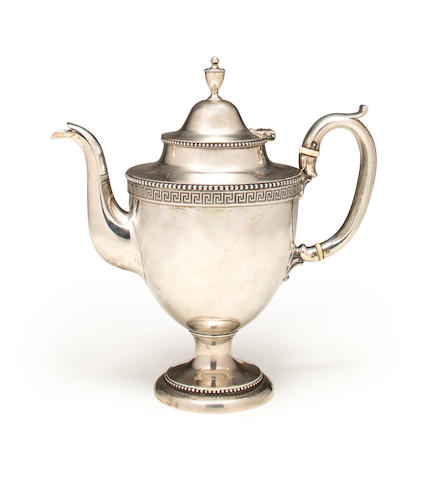Silver coffee pot by Bailey and Company. Bearing an inscription on the base, concerning Mrs William J Duane, wife of Honerable W J Duane, Secretary of US Treasury, together with a printed geneology