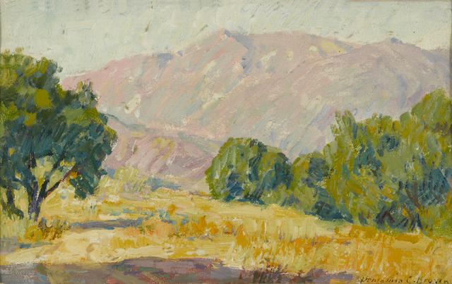 Benjamin Chambers Brown (American, 1865-1942) Meadow and mountain  sight: 5 x 8in