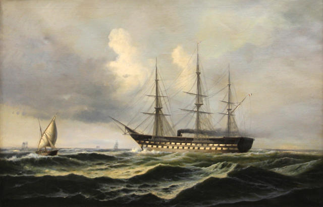 I. Andersen, 19th Century A full-rigged ship under steam on the sea with other shipping 33 x 49 3/4in