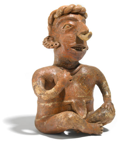 Nayarit Seated Ballplayer, Ixtlán del Rio Style,<br>Protoclassic, ca. 100 B.C.-A.D. 250