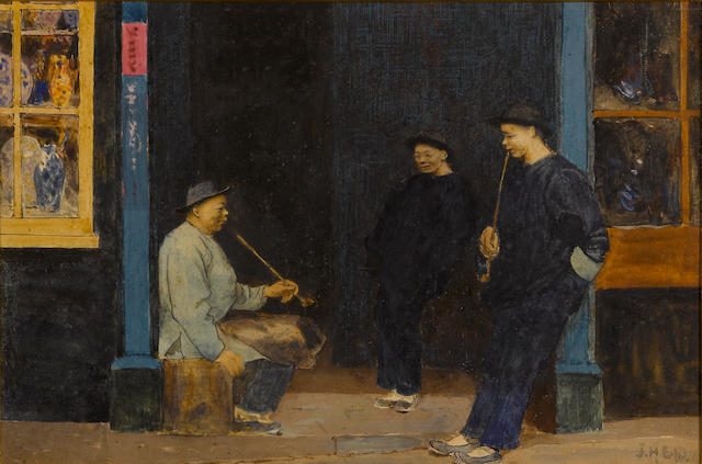 John Herbert Evelyn Partington (British/American, 1844-1899) Scenes from Chinatown, San Francisco (two) first sight: 9 1/2 x 6 3/4in; second sight: 6 3/4 x 8 3/4in
