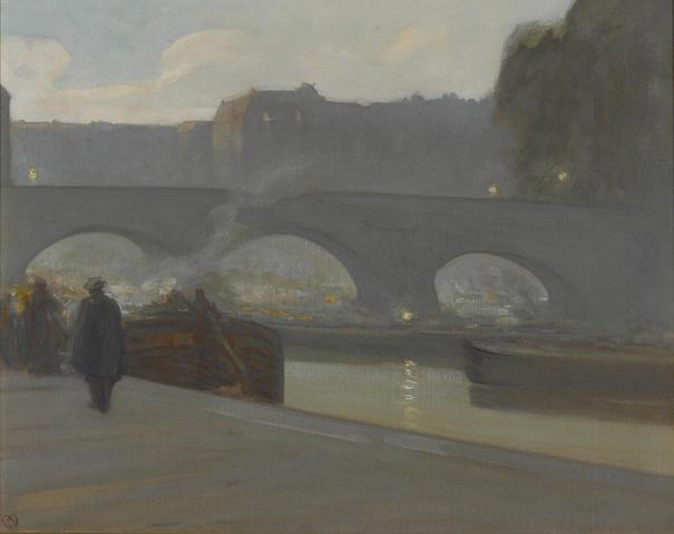 Xavier Martinez (American, 1869-1943) Pont Neuf, Paris, 1900 16 x 20in