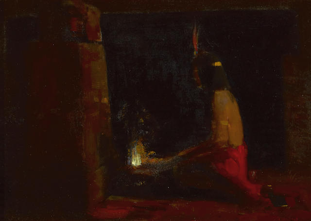 Xavier Martinez (American, 1869-1943) Hopi Indian at a hearth, 1896 7 3/4 x 10 3/4in