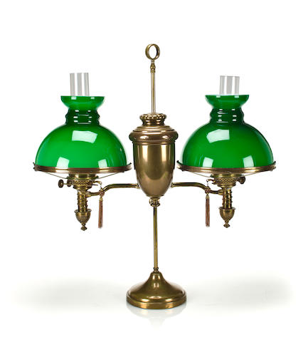 Double Brass Student Lamp, c. 1900