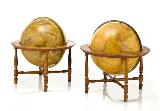 A pair of 13-inch table globes 1811-[1814?] 18 in (47 cm.) overall height.