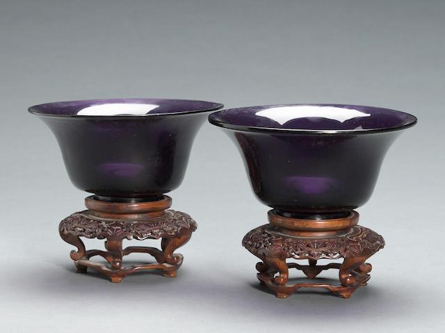 A pair of  deep purple Peking glass bowls 19th century