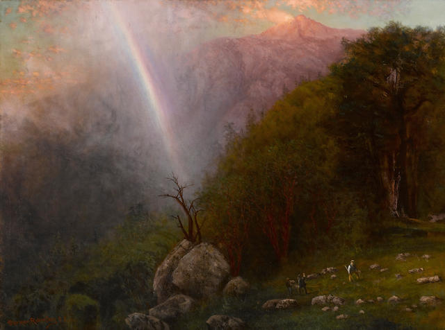 Charles Dormon Robinson (American, 1847-1933) Approach to the summit of Mount Tamalpais at sunset from the north east, showery weather, 1930 28 1/4 x 38in