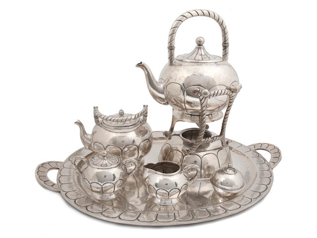 A Mexican sterling silver five piece tea service Plateria Vigueras, Mexico City, circa 1930's