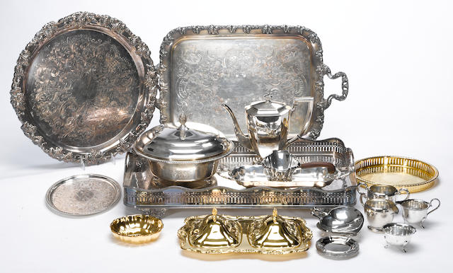 A quantity of plated table articles, flatware and cutlery
