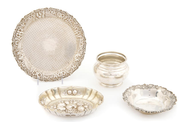 An assembled group of silver and sterling hollowware 20th century