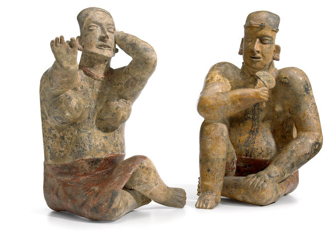 Large Jalisco Seated Couple, Ameca-Etzatlán Style, Protoclassic, ca. 100 B.C.-A.D. 250