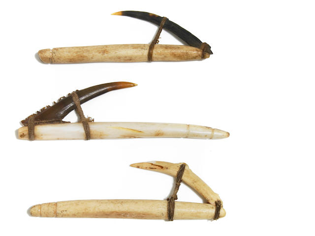 Three Composite Fish Hooks, Moro Bey Province, Papua New Guinea