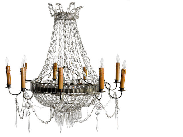 A Continental Neoclassical iron, tôle and cut glass nine light chandelier<br>possibly Italian<br>first half 19th century