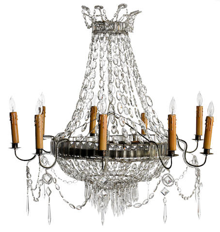 A Continental Neoclassical iron, tôle and cut glass nine light chandelier possibly Italian first half 19th century
