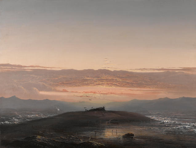 Norton Bush (American, 1834-1894) Sunset, San Francisco Bay, 1860 20 x 27 1/4in