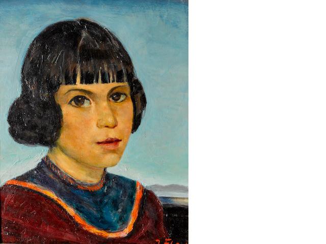 Joseph Fleck, Portrait of Spanish girl, ca.1952, o/c, 12 1/2 x 9in