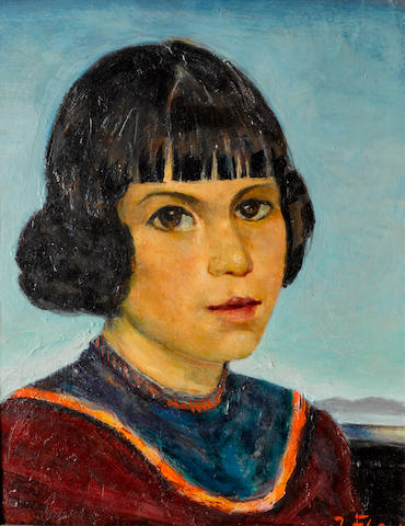 Joseph Fleck, Portrait of Spanish girl, ca.1952, o/c, 12 1/2 x 9in