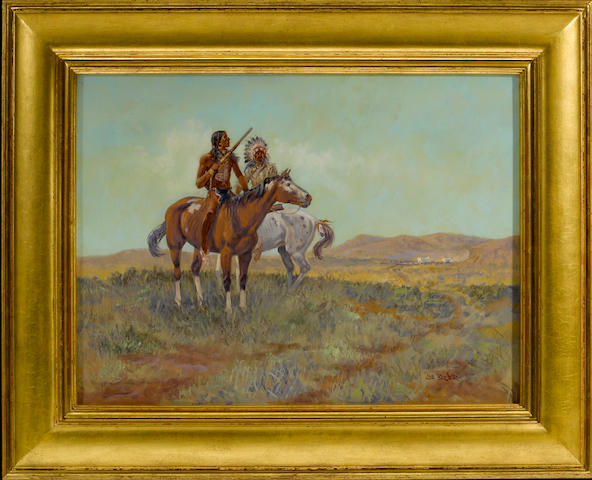 Joe Beeler, Plains Warriors and a distant wagon train