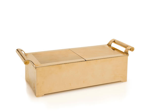 An antique fourteen karat gold cigarette box, Cartier,