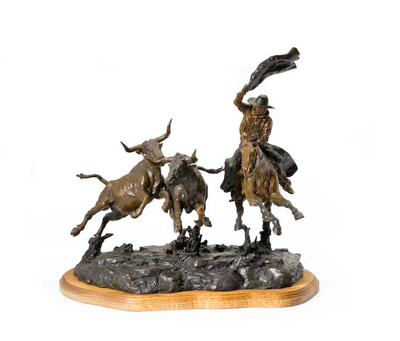 Jay Contway (American, born 1935) Cattle drive height with base: 18 1/2in