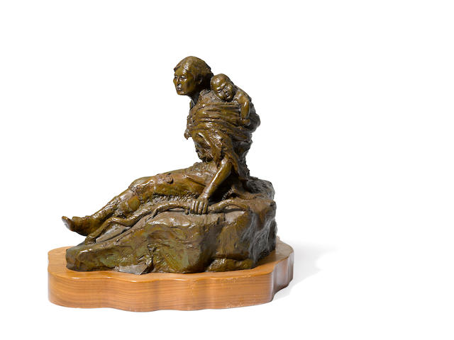 Bob Scriver, Sacajawea, no. 3/15, signed and dated: 1974, marked by foundry: JHM Classic Bronze, bronze, 12 x 7 1/2 x 11in; together with Man with his dog, no. 15, signed and dated: 1966, bronze, 12 x 8 x 13in
