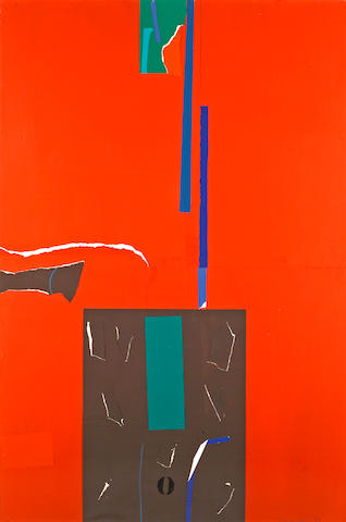 Emerson Woelffer (American, 1914-2003) Collage Red, 1978 58 x 38 1/2in
