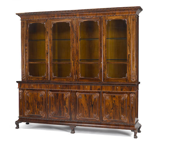 An American rosewood bookcase cabinet <br> possibly Meeks <br>circa 1840