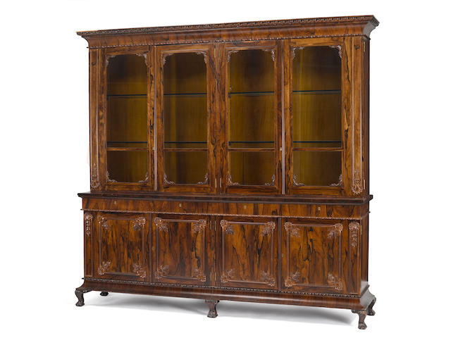 An American rosewood bookcase cabinet