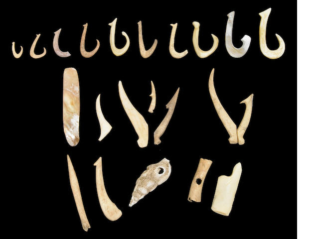 Collection of Fishing Hooks and Implements, Hawaiian Islands