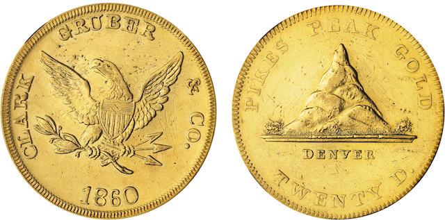 1860 Clark Gruber $20 AU Details NGC