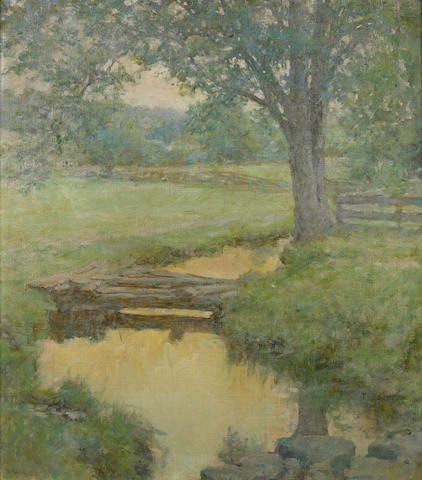 Robert Reid, Golden Stream in the Forest, ca 1900, oil on canvas, 28 x 25 inches