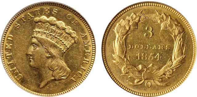 1854-O $3 AU58 PCGS