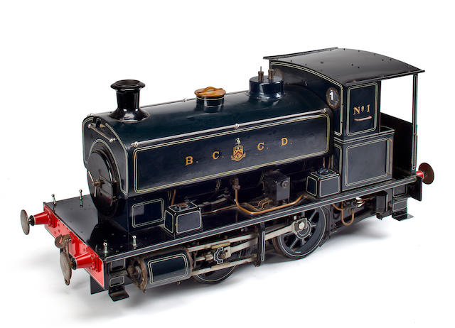 A large 0-2-0 tank engine for the BCGD Line  34 in. (86.4 cm.) length. 2