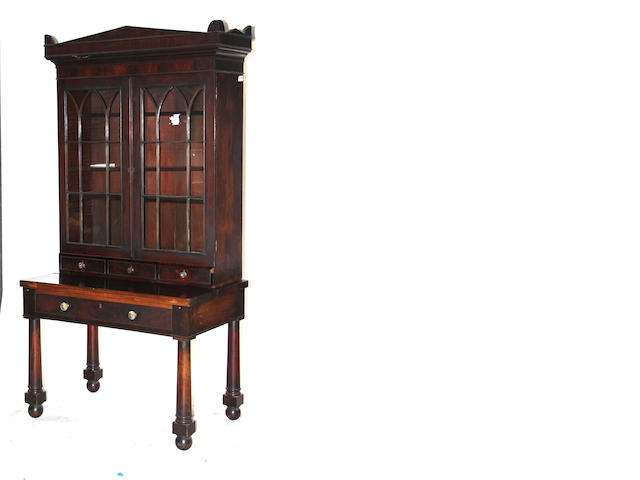 An American Classical mahogany secretary bookcase second quarter 19th century