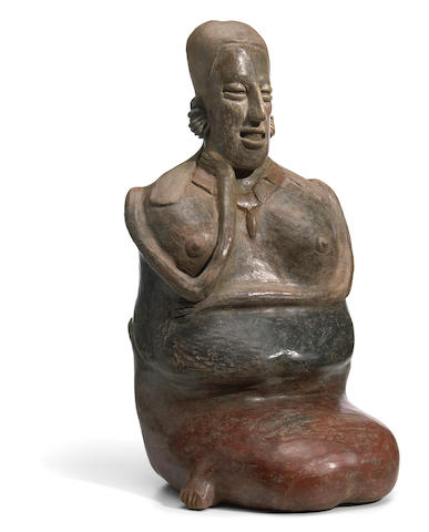 Large Jalisco Seated Female Figure, Ameca-Etzatlán Style, Protoclassic, ca. 100 B.C.-A.D. 250