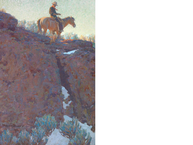 Maynard Dixon, Ridge Rider, 1912, 30 x 20 inches, oil, signed and dated.  **insured during transit for $300,000**